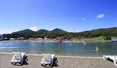 "Artificial lake ""Biryuzovaya Katun"" for summer holiday. Altai. R — Stock Photo"