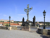 Statuary of the Holy Crucifix and Calvary. Charles Bridge in Pra — Stock Photo