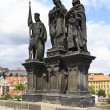 Statue of Saints Norbert of Xanten, Wenceslas and Sigismund on C — Stock Photo