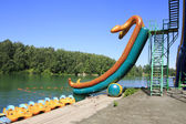 Waterslides at Lake Aya. Altai. Russia. — Foto de Stock