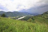 Storm clouds over the river Katun. View from the mountain Devil' — Stock Photo