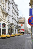 Taxi rank in the historical centre of Prague. — Stock Photo