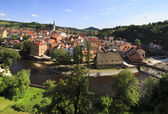 Beautiful summer landscape of historical center of Cesky Krumlov — Stock Photo
