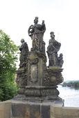 Statues of saints Barbara, Margaret and Elizabeth. Charles Bridg — Stock Photo