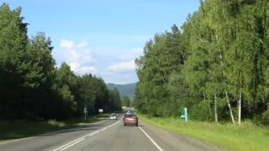 Travel along the roads of the Altai Krai. Russia. — Stockvideo