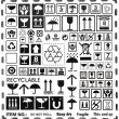 Cardboard box symbols set — Stock Photo