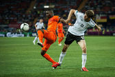 Netherlands vs Denmark in action during football match in European soccer league — Stock Photo