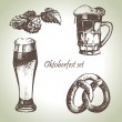 Oktoberfest set of beer, hops and pretzel. Hand drawn illustrati - Stock Vector