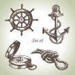 Sea set of nautical design elements - Stock Vector
