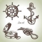 Sea set of nautical design elements — Stock Vector