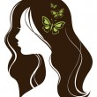 Stock Vector: Beautiful girl with butterflies