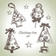 Hand drawn Christmas tree design set — Stock Vector