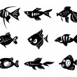 Fishes icon set - Stock Vector