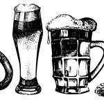 Oktoberfest set of beer, hops and pretzel. Hand drawn illustrati — Stock Vector
