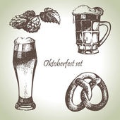 Oktoberfest set of beer, hops and pretzel. Hand drawn illustrati — Stockvektor