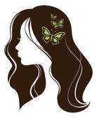 Beautiful girl with butterflies — Stock Vector