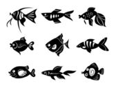 Fishes icon set — Stock Vector