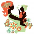 Stock Vector: Beautiful mother silhouette with baby
