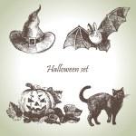 Hand drawn halloween set — Stock Vector