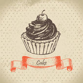 Cake. Hand drawn illustration — Stock Vector