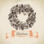 Christmas wreath. Hand drawn illustration — Stock Vector