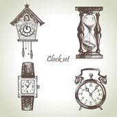Dibujado a mano juego de relojes y relojes — Vector de stock