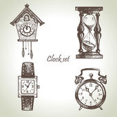 Hand getrokken set van klokken en de horloges — Stockvector