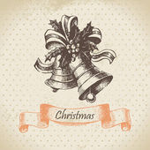 Christmas bell. Hand drawn illustration — Vector de stock