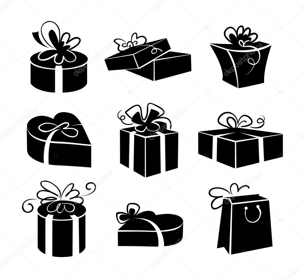 Set of gift boxes icons, black and white illustrations — Stock Vector #13844887