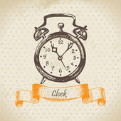 Alarm clock, hand drawn illustration — Vecteur