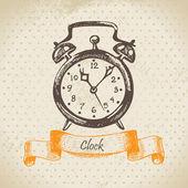 目覚まし時計、手描きイラスト — ストックベクタ