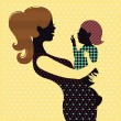 Mother and baby in retro style — Stock Vector