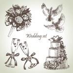 Wedding set. Hand drawn illustration — Stock Vector