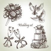Matrimonio set. illustrazione a mano — Vettoriale Stock
