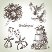 Wedding set. Hand drawn illustration — Vector de stock