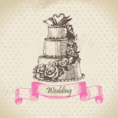 Wedding cake. Hand drawn illustration — Stok Vektör