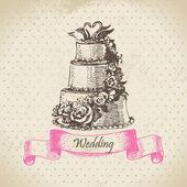 婚礼蛋糕。手工绘制的插图 — 图库矢量图片