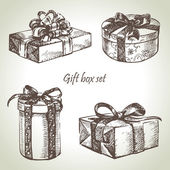 Set of gift boxes. Hand drawn illustration — Stock Vector