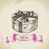 Gift box. Hand drawn illustration — Stock Vector