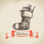 Noel çorap. el çizilen illüstrasyon — Stok Vektör