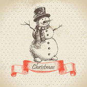 Christmas snowman. Hand drawn illustration — Stock Vector