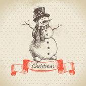 Christmas snowman. Hand drawn illustration — Stock Vector
