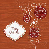 Christmas card with wooden background — Stock Vector