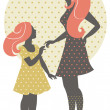 Royalty-Free Stock Vector Image: Beautiful mother silhouette with her daughter in retro style