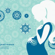 Silhouette of pregnant woman in winter — Stock Vector