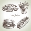 Royalty-Free Stock Vector: Fast food set. Hand drawn illustrations