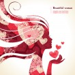 Beautiful girl silhouette with a hearts — Imagen vectorial