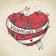 Hand drawn heart and vintage background. Valentines Day card — Stock Vector #16226407