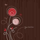 Karikatür kuş ile çiçek arka plan — Stok Vektör