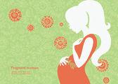Silhouette der schwangeren frau im sommer — Stockvektor